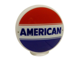 AMERICAN RED WHITE & BLUE MILK GLASS PUMP GLOBE
