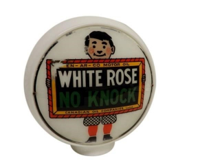 WHITE ROSE NO KNOCK MILK GLASS GAS PUMP GLOBE