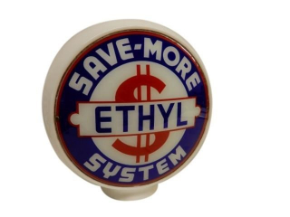 ETHYL SAVE-MORE SYSTEM MILK GLASS GAS PUMP GLOBE