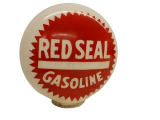 RED SEAL GASOLINE HAND PAINTED MILK GLASS GLOBE