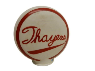 THAYERS MILK GLASS GAS PUMP GLOBE