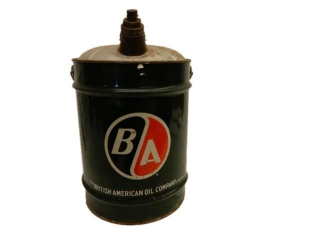 B/A (GREEN/RED) FIVE IMPERIAL GALLONS OIL CAN