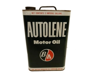 B/A(GREEN/RED) AUTOLENE MOTOR OIL 2 IMP. GALS. CAN