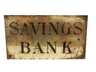 SAVINGS BANK ENGRAVED S/S BRASS SIGN