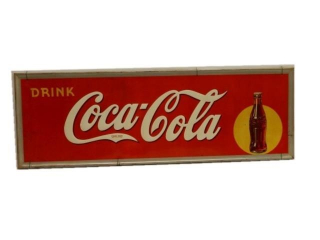 1938 DRINK COCA-COLA SST EMBOSSED SIGN
