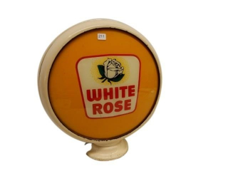 RARE WHITE ROSE GAS PUMP GLOBE - ONE LENSE ONLY