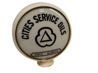 CITIES SERVICE BLACK GAS PUMP GLOBE/ONE LENSE ONLY