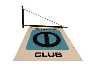 DINERS CLUB D/S PAINTED METAL SIGN/ BRACKET