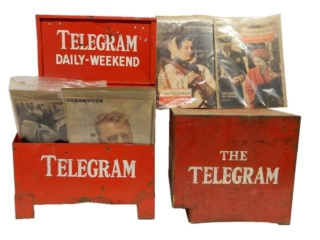 LOT OF 2 TELEGRAM STAND /1964 PAPERS & BOX