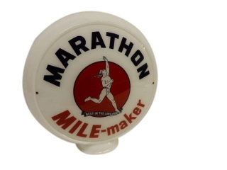 MARATHON MILE-MAKER MILK GLASS GAS PUMP GLOBE