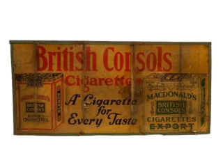 BRITISH CONSOLS CIGARETTES S/S CARDBOARD SIGN