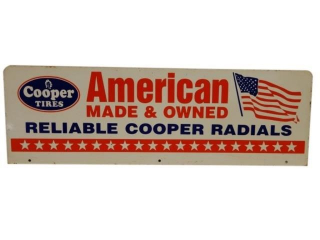 COOPER TIRES AMERICAN MADE & OWNED D/S METAL SIGN