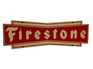FIRESTONE TIRES D/S PAINTED METAL RACK SIGN