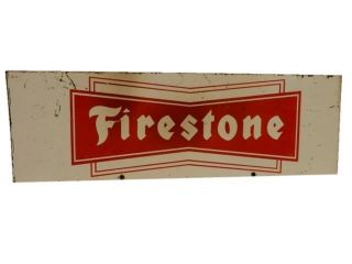 FIRESTONE TIRES D/S PAINTED METAL RACK TOP SIGN
