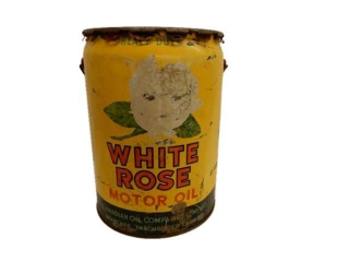 1953 WHITE ROSE MOTOR OIL 5 IMP. GALLONS CAN