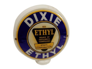 DIXIE ETHYL MILK GLASS GAS PUMP GLOBE/ ONE LENSE