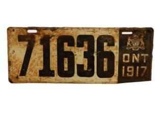 1917 ONTARIO SST LICENSE PLATE