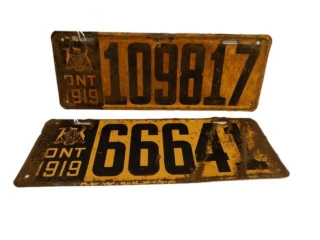 GROUPING OF 21919 ONTARIO SST LICENSE PLATES