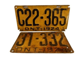 LOT OF 2 1924 ONTARIO SST EMBOSSED  LICENSE PLATES