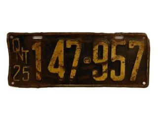 1925 ONTARIO SST EMBOSSED  LICENSE PLATE