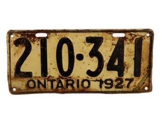 1927 ONTARIO SST EMBOSSED  LICENSE PLATE