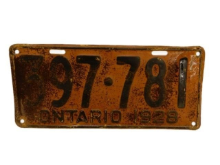 1928 ONTARIO SST EMBOSSED  LICENSE PLATE