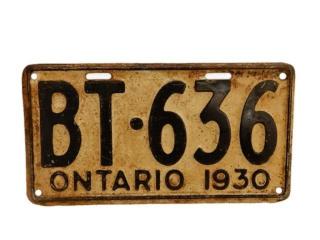 1930 ONTARIO SST EMBOSSED  LICENSE PLATE