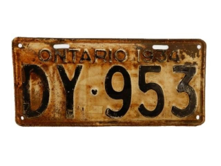1934 ONTARIO SST EMBOSSED  LICENSE PLATE