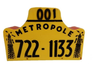 METROPOLE 001 HEAVY PLASTIC EMBOSSED TAXI TOPPER