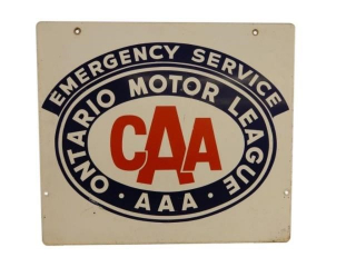 ONTARIO MOTOR LEAGE CAA EMERGENCY SERVICE D/S SIGN