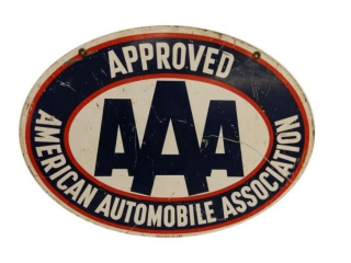 AAA AMERICAN AUTOMOBILE APPROVED D/S METALSIGN
