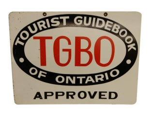 TGBO TOURIST GUIDEBOOK OF ONTARIO APPROVED SIGN