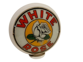 WHITE ROSE MILK GLASS GAS PUMP GLOBE