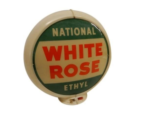 NATIONAL WHITE ROSE / ETHYL GAS PUMP GLOBE