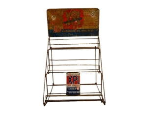 "XPL ""NEW SUPERIOR OIL ADDITIVE"" METAL RACK / CAN"