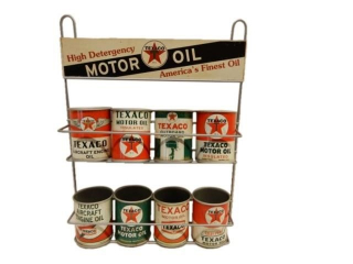 "TEXACO ""AMERICA'S FINEST OIL"" SMALL CAN ADV. RACK"