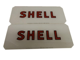 2 SHELL GAS PUMP AD GLASS