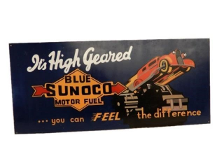 "BLUE SUNOCO MOTOR OIL ""HIGH GEARED"" S/S METALSIGN"