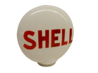 CANADIAN SHELL MILK GLASS GAS PUMP GLOBE