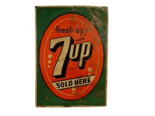 FRESH UP! WITH 7UP SOLD HERE EMBOSSED SST SIGN