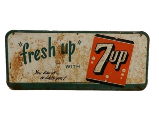 1953 FRESH UP WITH 7UP SST EMBOSSED SIGN