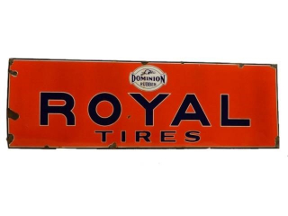 1945 DOMINION RUBBER ROYAL TIRES SSP SIGN