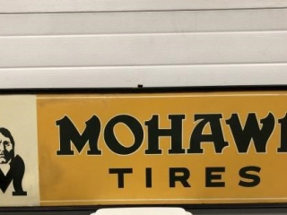 Original framed painted tin tire sign - Circa 1927