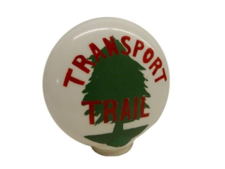 TRANSPORT TRAIL MILK GLASS GAS PUMP GLOBE