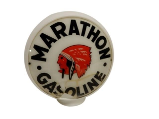 RED INDIAN MARATHON MILK GLASS GAS PUMP GLOBE