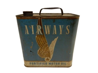 AIRWAYS FORTIFIED MOTOR OIL FIVE IMPERIAL QUARTS