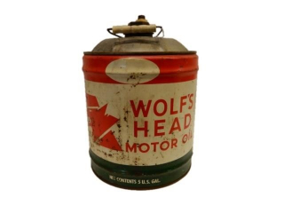 WOLF'S HEAD MOTOR OIL 5 U.S. GAL. CAN
