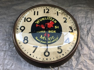 "Wurlitzer Clock (Working) 17.5"" diameter"