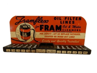 1949 FRAMFLEX  FRAM  FILTERS TIN WALL MOUNT RACK
