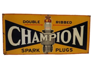 "RARE CHAMPION SPARK PLUGS""DOUBLE RIBBED"" SST SIGN"